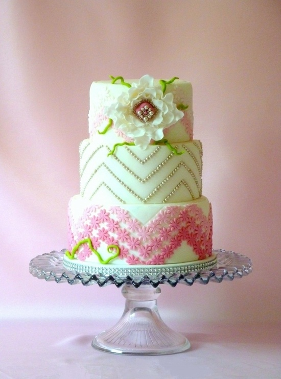 White Green Pink Ombre Cake