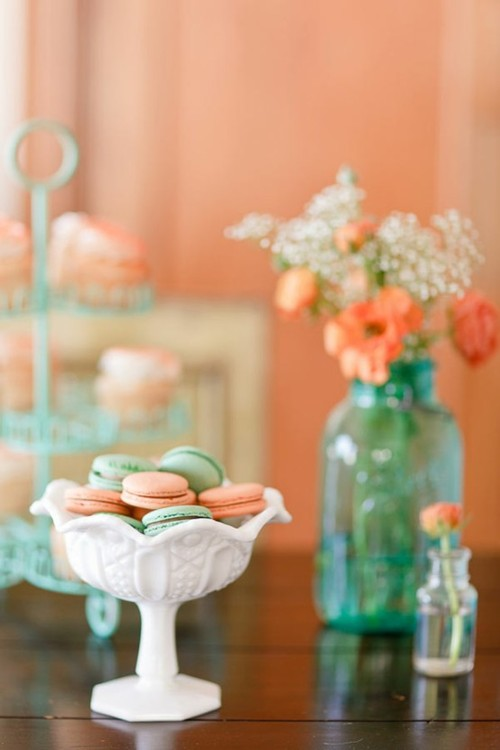 Peach and Mint Macarons