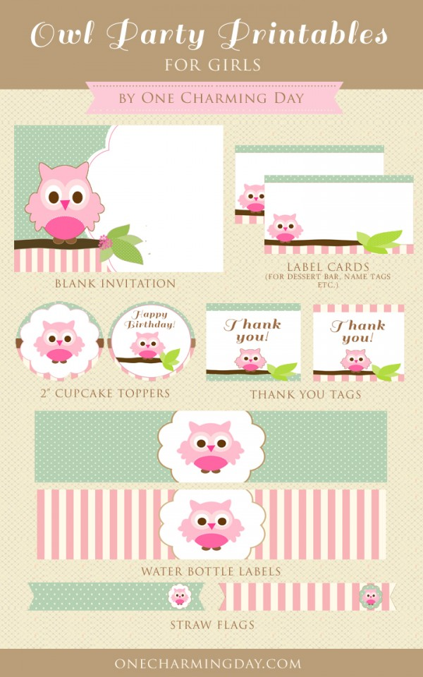 Free Owl Party Printables for Girls