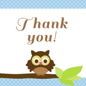 Owl Party Thank You tags