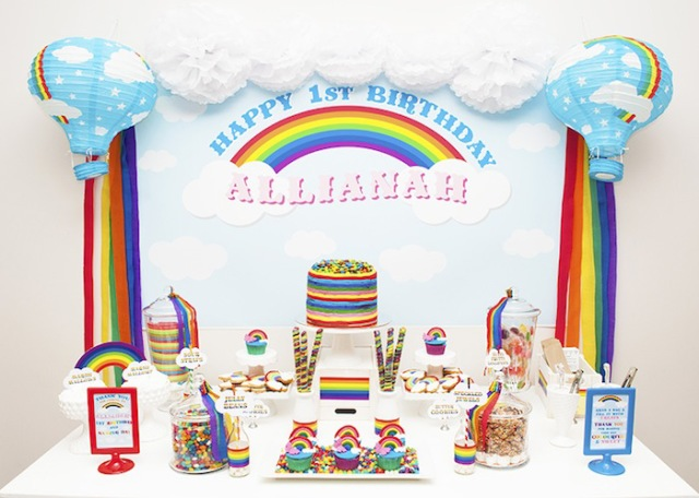 Rainbow and Clouds Dessert Table
